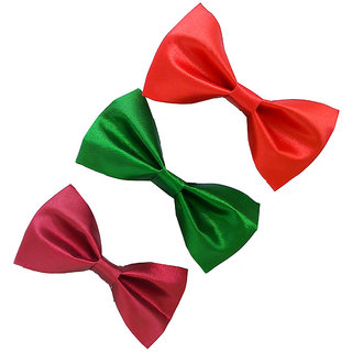 Wholesome Deal red maroon and green neck bow tie (Pack of three)