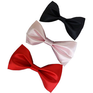 Wholesome Deal red black and pink neck bow tie (Pack of three)