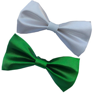 Wholesome Deal white and green neck bow tie (Pack of two)