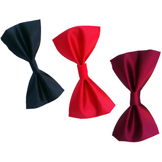Wholesome Deal red navy blue and maroon neck bow tie (Pack of three)