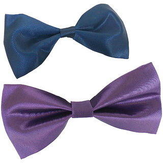 Wholesome Deal purple and navy blue neck bow tie (Pack of two)