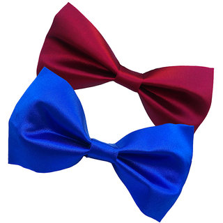 Wholesome Deal maroon and royal blue neck bow tie (Pack of two)