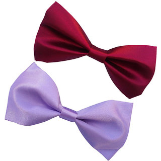 Wholesome Deal maroon and light purple neck bow tie (Pack of two)