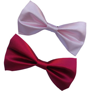 Wholesome Deal maroon and pink neck bow tie (Pack of two)