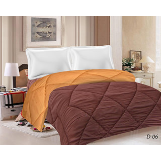 India Furnish All Seasons 120 GSM Double Bed Comfortor Chocolate Brown  Gold Color