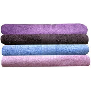 India Furnish 100 Cotton Soft Premium Towel Set 450 GSM,Set of 4 Pcs ,Size 60 cm x 120 cm- Purple,Baby Pink,Sky Blue  Chocolate Brown Color