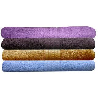 India Furnish 100 Cotton Soft Premium Towel Set  450 GSM,Set of 4 Pcs ,Size 60 cm x 120 cm-Purple,Chocolate Brown,Gold  Sky Blue Color