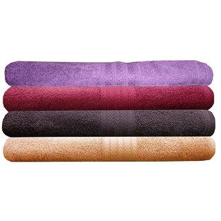 India Furnish 100 Cotton Soft Premium Towel Set 450 GSM,Set of 4 Pcs ,Size 60 cm x 120 cm-Purple,Maroon,Chocolate Brown  Peach Color