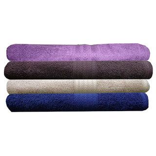 India Furnish 100 Cotton Soft Premium Towel Set 450 GSM,Set of 4 Pcs ,Size 60 cm x 120 cm-Purple,Maroon,Biscuit  Navy Blue  Color