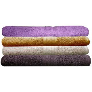 India Furnish 100 Cotton Soft Premium Towel Set 450 GSM,Set of 4 Pcs ,Size 60 cm x 120 cm-Purple,Gold,Chocolate Brown  Biscuit  Color