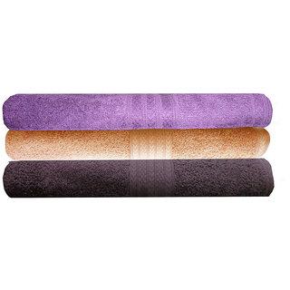 India Furnish 100 Cotton Soft Premium Towel Set 450 GSM,Set of 3 Pcs ,Size 60 cm x 120 cm-Purple,Peach  Chocolate Brown Color