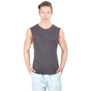Hypernation Round Neck With Dark Grey Color Cotton Muscle T-shirt