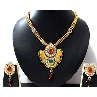 Golden Maroon Green Minakari pendant necklace set