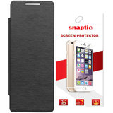 Snaptic Black flip Cover for Infocus M2 with Screen Guard