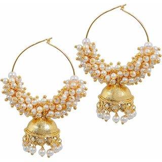 Maayra Amazing White Gold Pearl Jhumki Indian Wedding Earrings