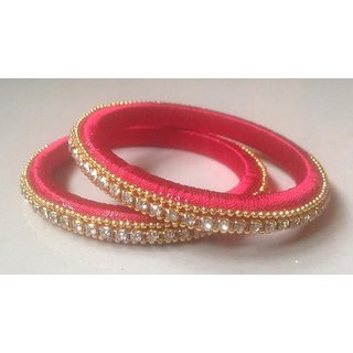 Handmade Fabric silk  Colour Red  Bangles With Stone