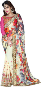 Khoobee Cream Georgette Embroidered Saree With Blouse