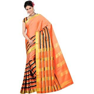 Fabplus Multicolor Cotton Plain Saree With Blouse