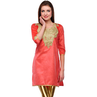 Visach Womens Velvet 3/4th Sleeves Solid Peach Kurti-L