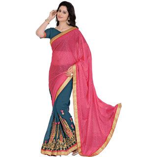 Khoobee Blue Georgette Embroidered Saree With Blouse
