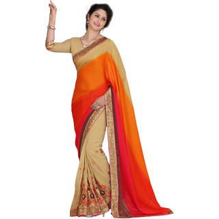 Khoobee Beige Georgette Embroidered Saree With Blouse
