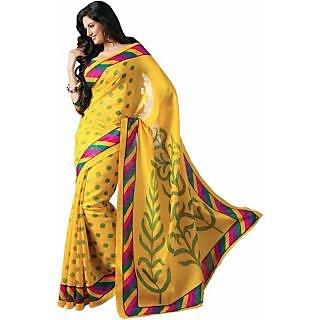 Fabplus Yellow color bhagalpuri silk saree with blouse piece