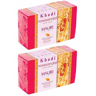 Khadi Mauri Rose Sandal Soap - Pack of 2 - Premium Handcrafted Herbal