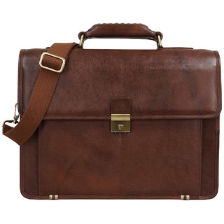 Clubb Leather Compact Portfolio Bag (Tan)