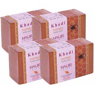 Khadi Mauri Honey Soap - Pack of 4 - Premium Handcrafted Herbal