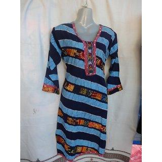 Mahi Crafts Womens Batik Print Long Kurti Blue
