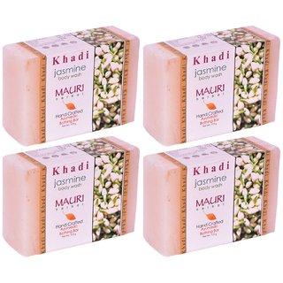 Khadi Mauri Jasmine Soap - Pack of 4 - Premium Handcrafted Herbal