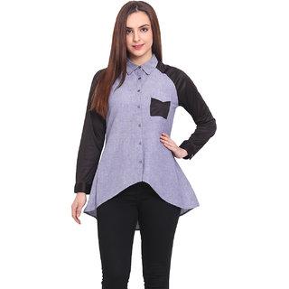 Blink Women Blue Cotton Casual Shirt (BLK00038)