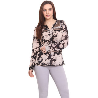 Blink Women Cream Georgette Casual Top (BLK00032)