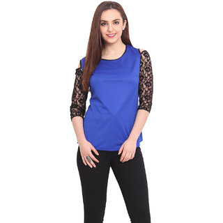 Blink Women Blue Viscose Casual Top (BLK00043)