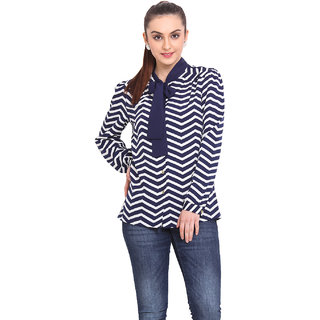 H.O.G. Women Blue,Black Polyester Casual Shirt (UCI040-A)