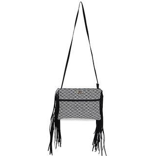 Paprika Black  White Colour Sling Bag
