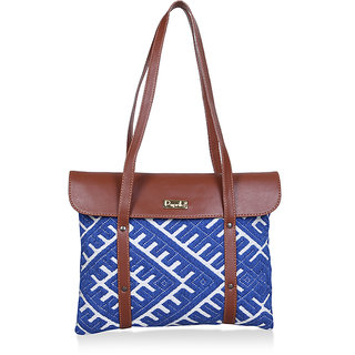 Paprika Blue  White Colour Handbag