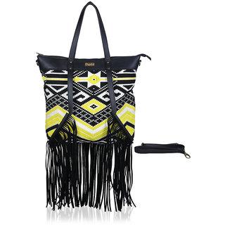 Paprika Yellow  Black Colour Handbag