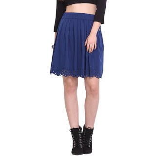 H.O.G. Women Blue Polyester Casual Skirt (UCI057-A)