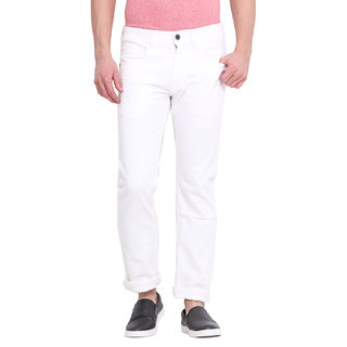 Virtue Men's White Slim Fit Jeans