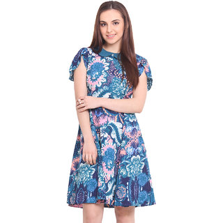 La Stella Blue Printed A Line Dress For Women