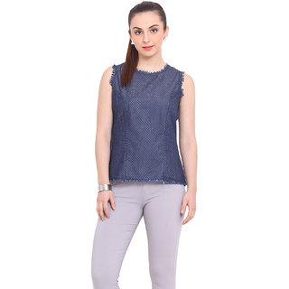 La Stella Women Blue Cotton Casual Top (L16130)