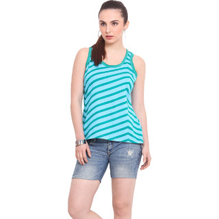 La Stella Women Turquoise Cotton Casual Top (L1614)