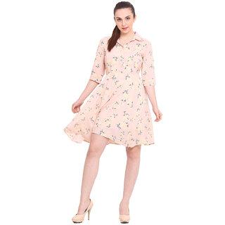 La Stella Peach Printed A Line Dress For Women