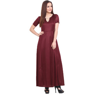 Blink Maroon Plain Gown Dress For Women