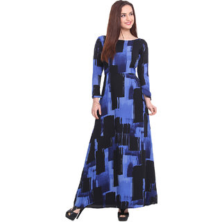 Blink Blue Printed Gown Dress For Women