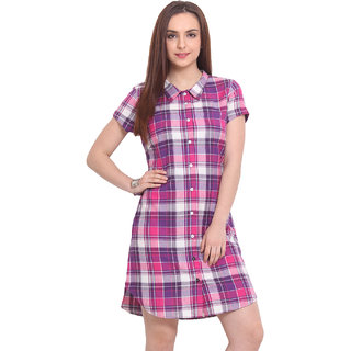 Blink Purple Checks A Line Dress For Women