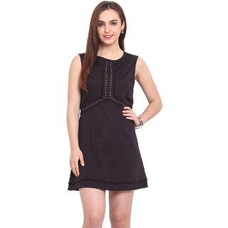 H.O.G. Black Plain Skater Dress For Women