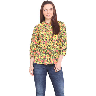 La Stella Women Yellow Cotton Casual Top (L16143-YELLOW)