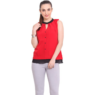 La Stella Women Red Polyester Casual Top (L16140-RED)